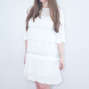 Who What Wear White Ruffle Shift Dress Size Small